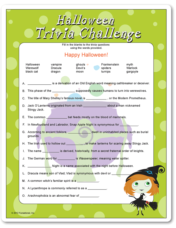 photo about Printable Halloween Trivia titled Printable Halloween Trivia Trouble Emma\