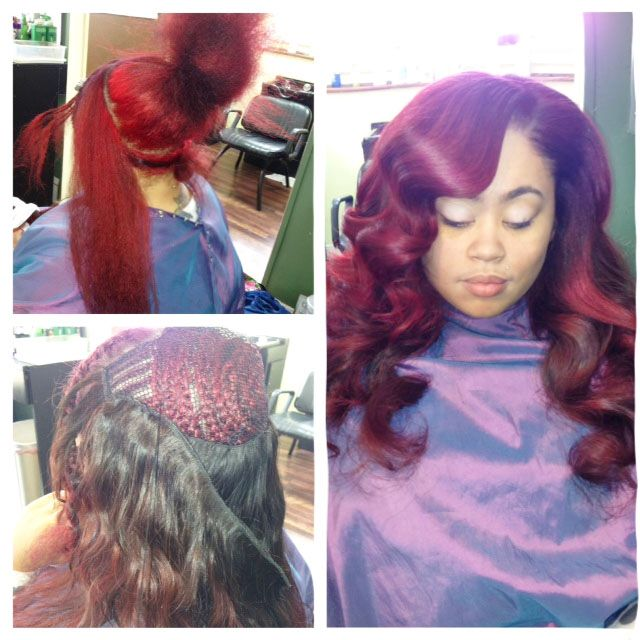-hair by shaunda ,red hair ,sewin weave, extensions, Brazilian hair, www.shopsaloncass.com