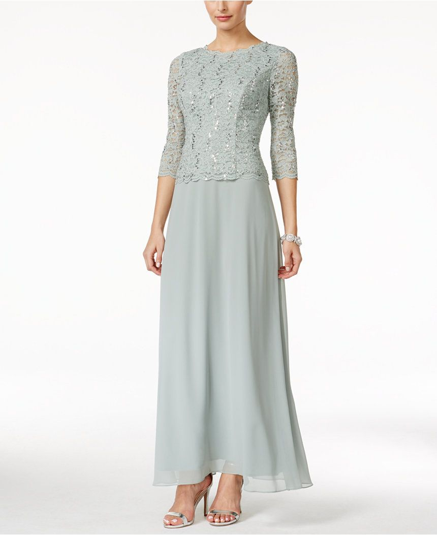 19cc553c783 Alex Evenings Elbow-Sleeve Sequined Lace Gown - Mother of the Bride - Women  - Macy s