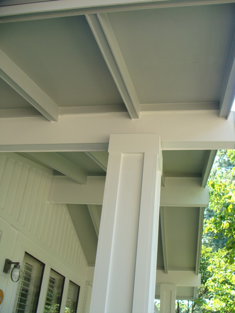 Wrapped Columns And Hardi Board Ceiling Modern Porch House Ceiling Design Ceiling Design