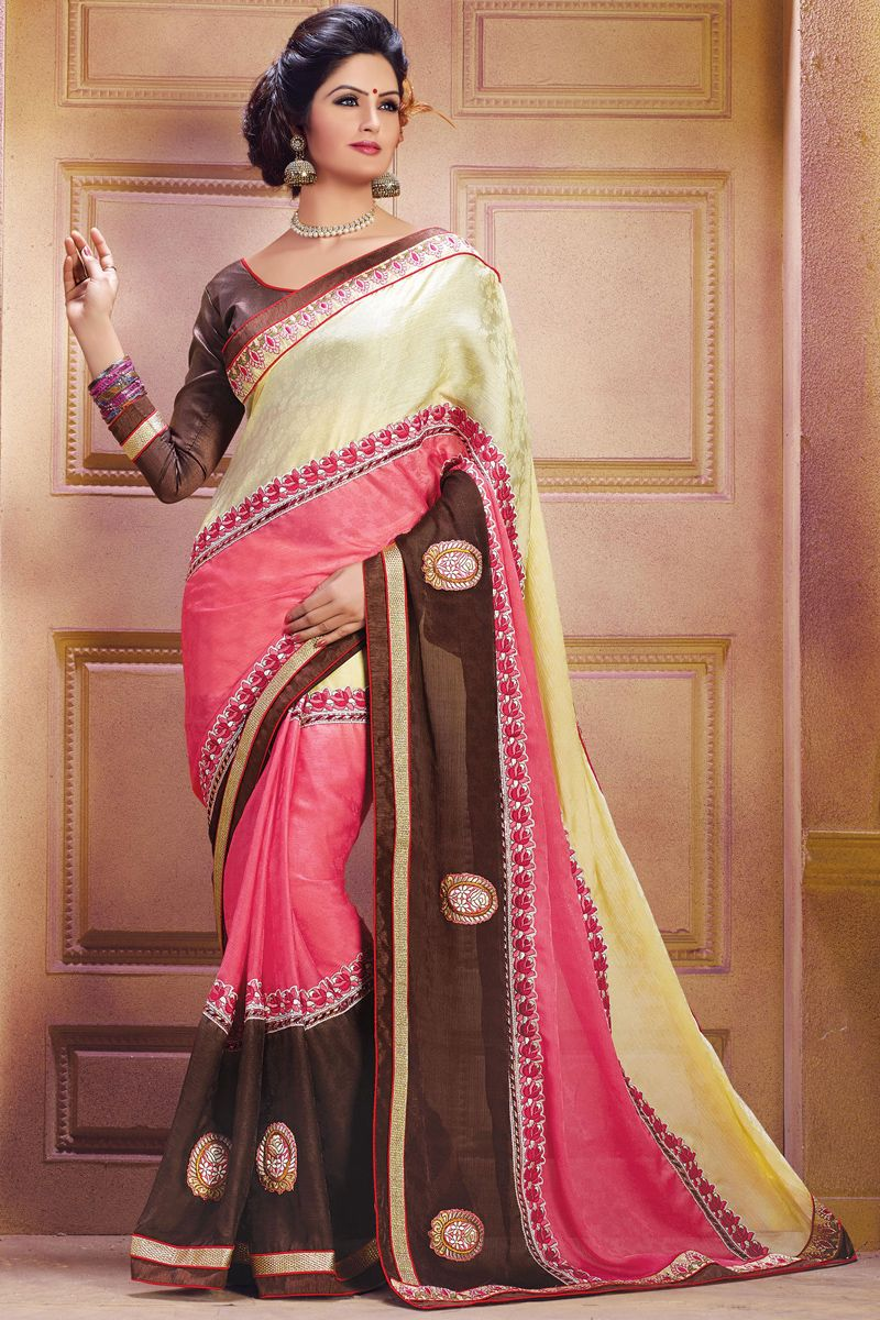 Peach color saree for wedding multi color designer wedding bridal lehenga saree from skysarees