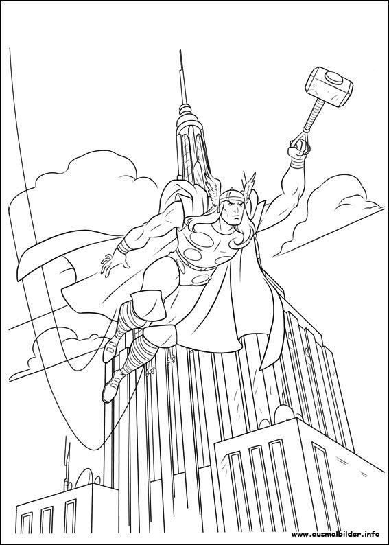 Ausmalbilder Thor Fliegend 01 | anime | Pinterest