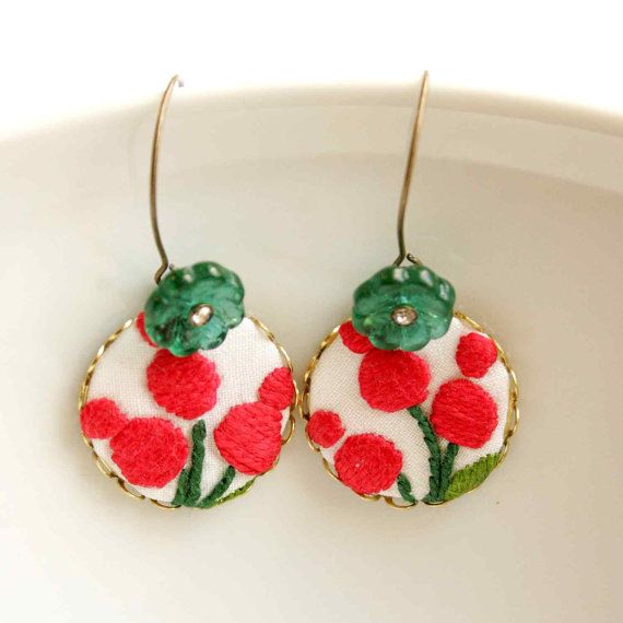Dangling Earrings in Red and Green with Embroidered Traditional Folk Art Patterns - Berries - Modern Hungary series