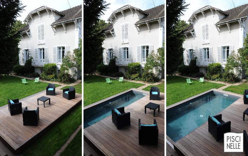 Une belle terrasse mobile de piscine Rolling-Deck qui permet ...