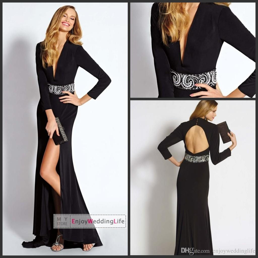 Wholesale evening dresses buy new sexy black gorgeous long sleeves