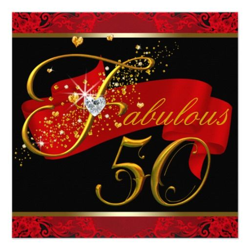 Womans Red Fabulous 50th Birthday Party Card | 50 birthday ...
