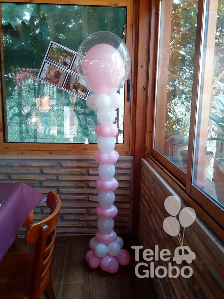 Columna de globos con bubble arcos de globos columnas - Decoracion columnas salon ...