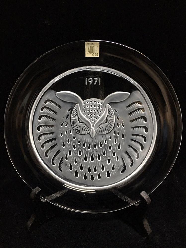 Lalique France Crystal Plate Hibou Owl 1971 Mint no Box
