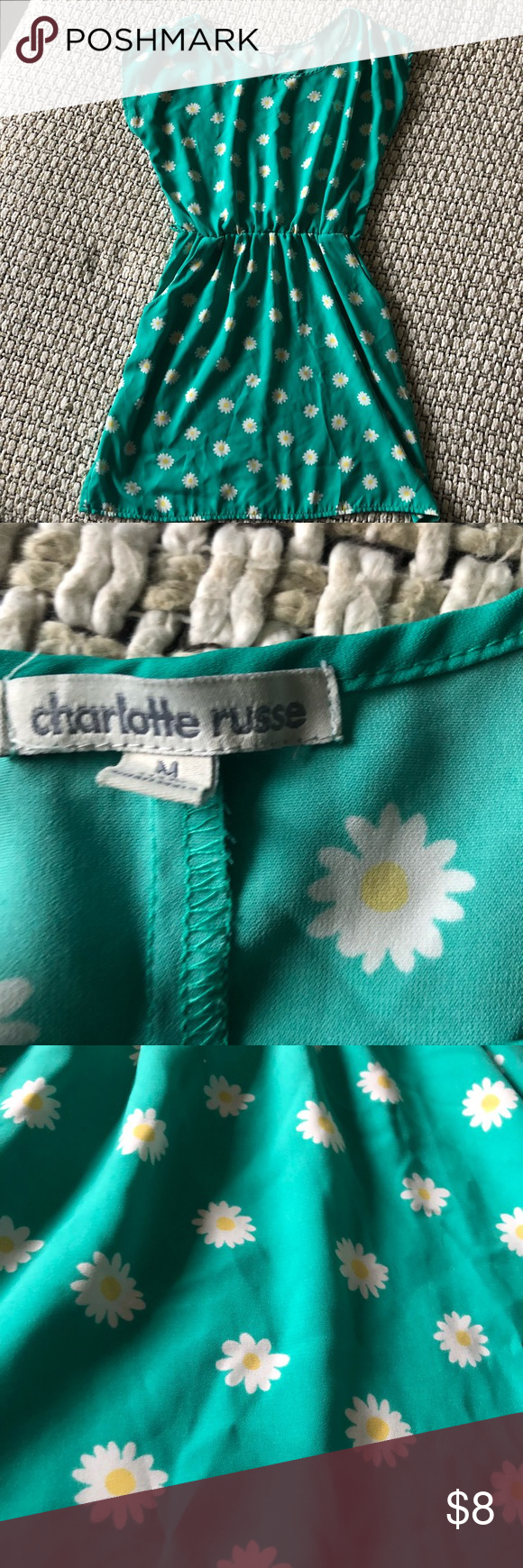 Charlotte Russe flower dress Cute teal flower dress, missing belt. Charlotte Russe Dresses
