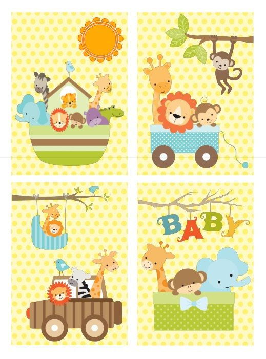 Jungle Baby Animal Nursery Wall Art - Set of 4 Prints - Jungle ...