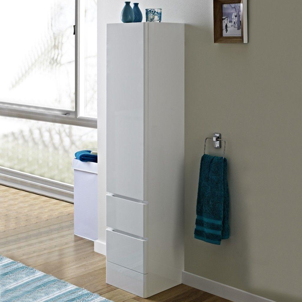 tall bathroom cabinet with laundry bin
