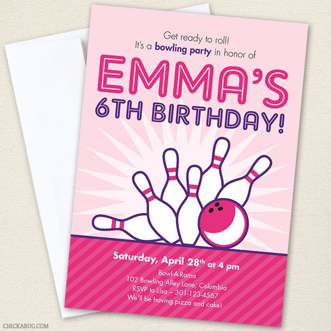Pink Bowling Party Invitations - Professionally printed *or* DIY - bowling flyer template free