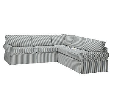 PB Basic Slipcovered 2-Piece L-Shaped Sectional, Box Edge Polyester Wrapped Cushions, Sateen Ticking Stripe Indigo