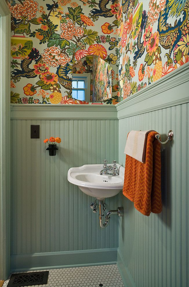 Genial Superb Waynes Coating Convention Portland Traditional Powder Room  Inspiration With Beadboard Colorful Wallpaper Corner Sink Hex Tile Hexagon  Tile Remodel ...
