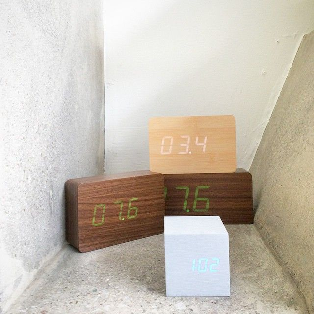 What's the time?  Time to get one of these rechargeable sound-activated clocks that tells time, date, and temperature!