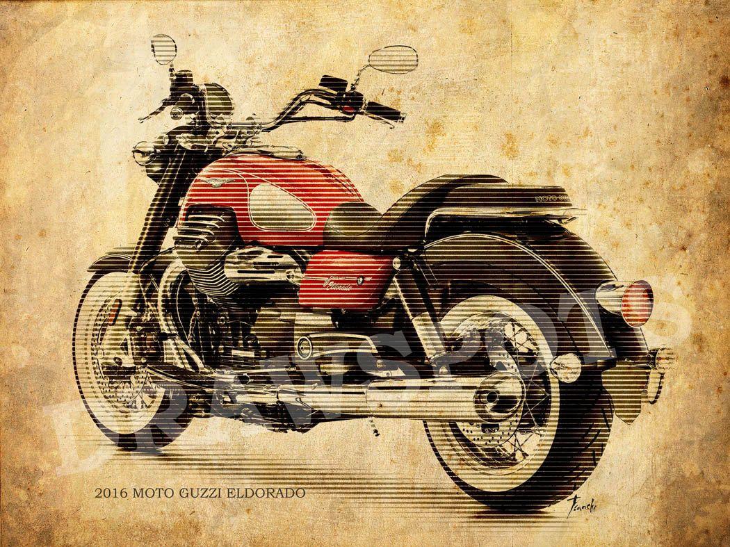 Moto Guzzi Eldorado 2016 Motorcycle Poster Vintage