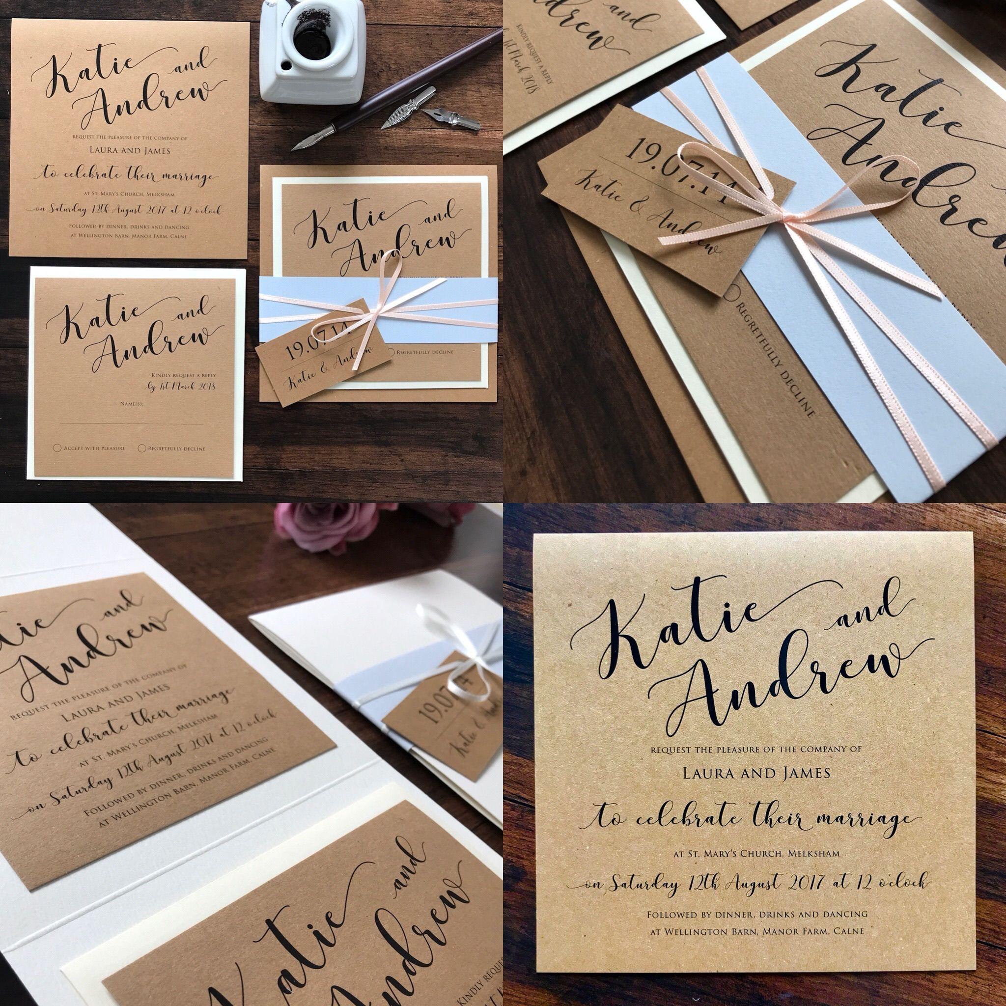 Rosie Rustic Calligraphy Wedding Invitation Set Eaton