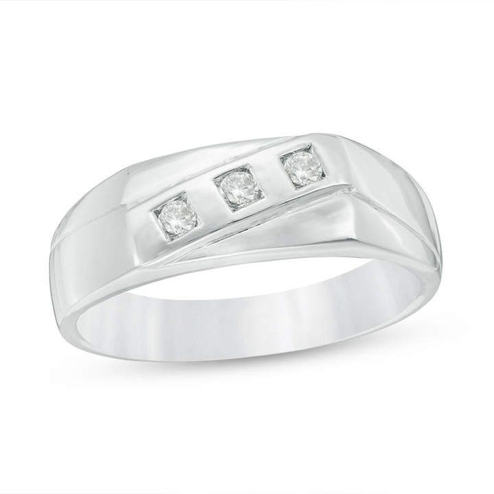 Zales Mens 1/8 CT. T.w. Diamond Three Stone Slant Band in Sterling Silver IaKF9mREC