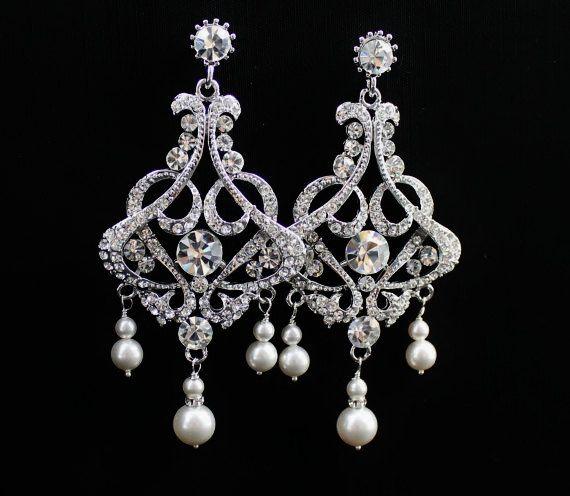 Bridal Earrings Crystal Chandelier Wedding By Jamjewels1 65 00