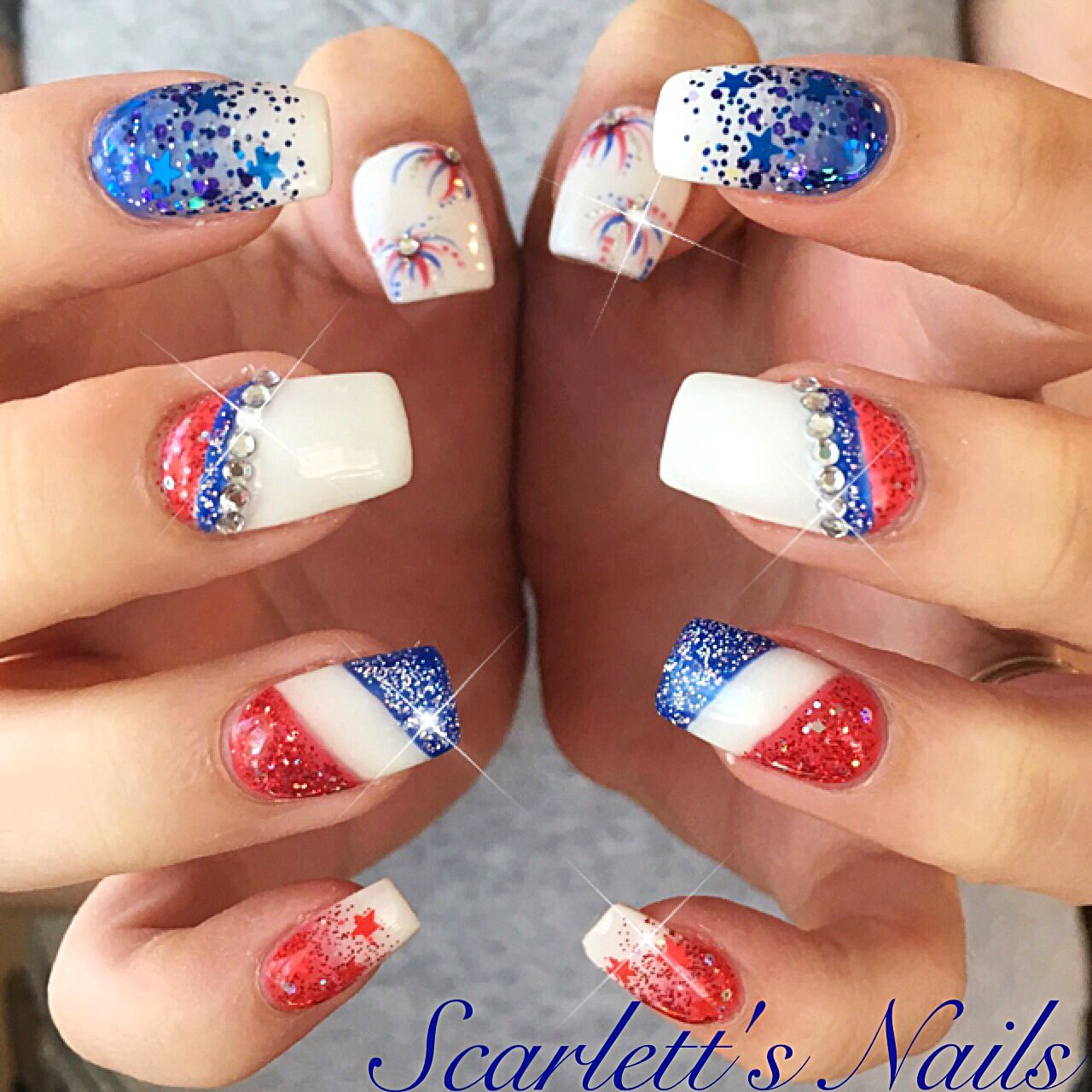 4th of july firework glitter ombré red white and blue swarovski