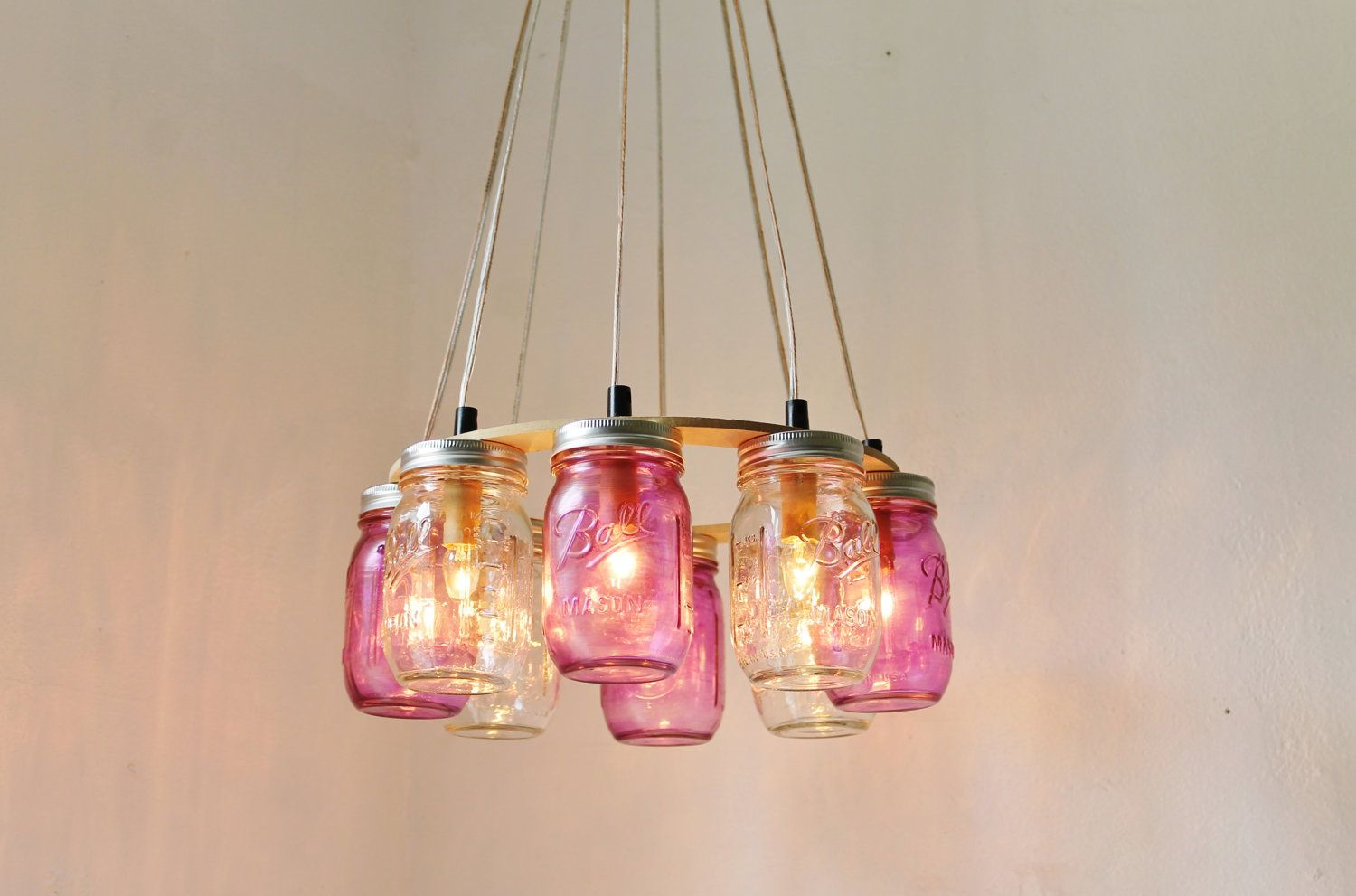Purple passion mason jar chandelier upcycled hanging mason jar 3 tier mason jar chandelier mason jar lighting by bootsngus arubaitofo Choice Image