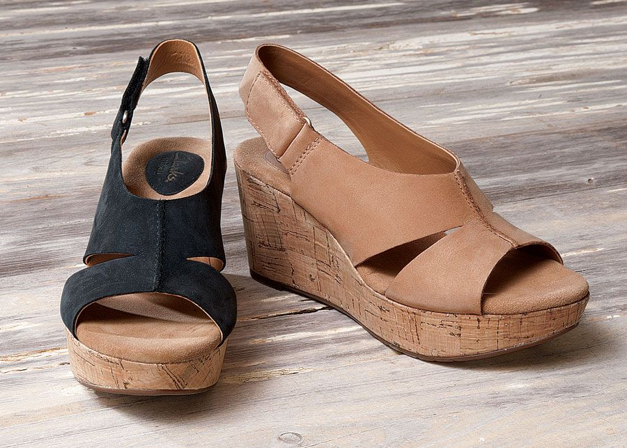 Clarks Lizzie Wedges Acacia Comfortable Stylish Shoes