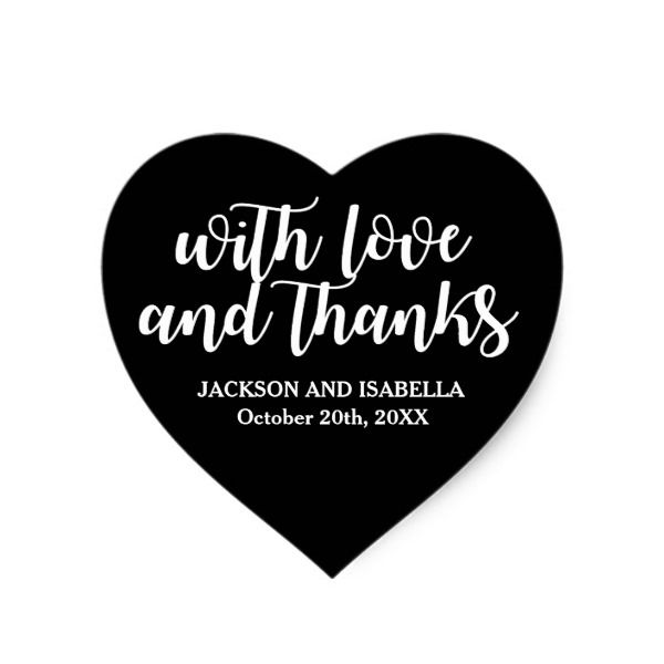 Love and thanks black and white heart wedding heart sticker wedding craft custom