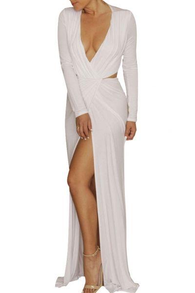 White Long Sleeve V Neck Floor-length Jersey Dress - OASAP.com