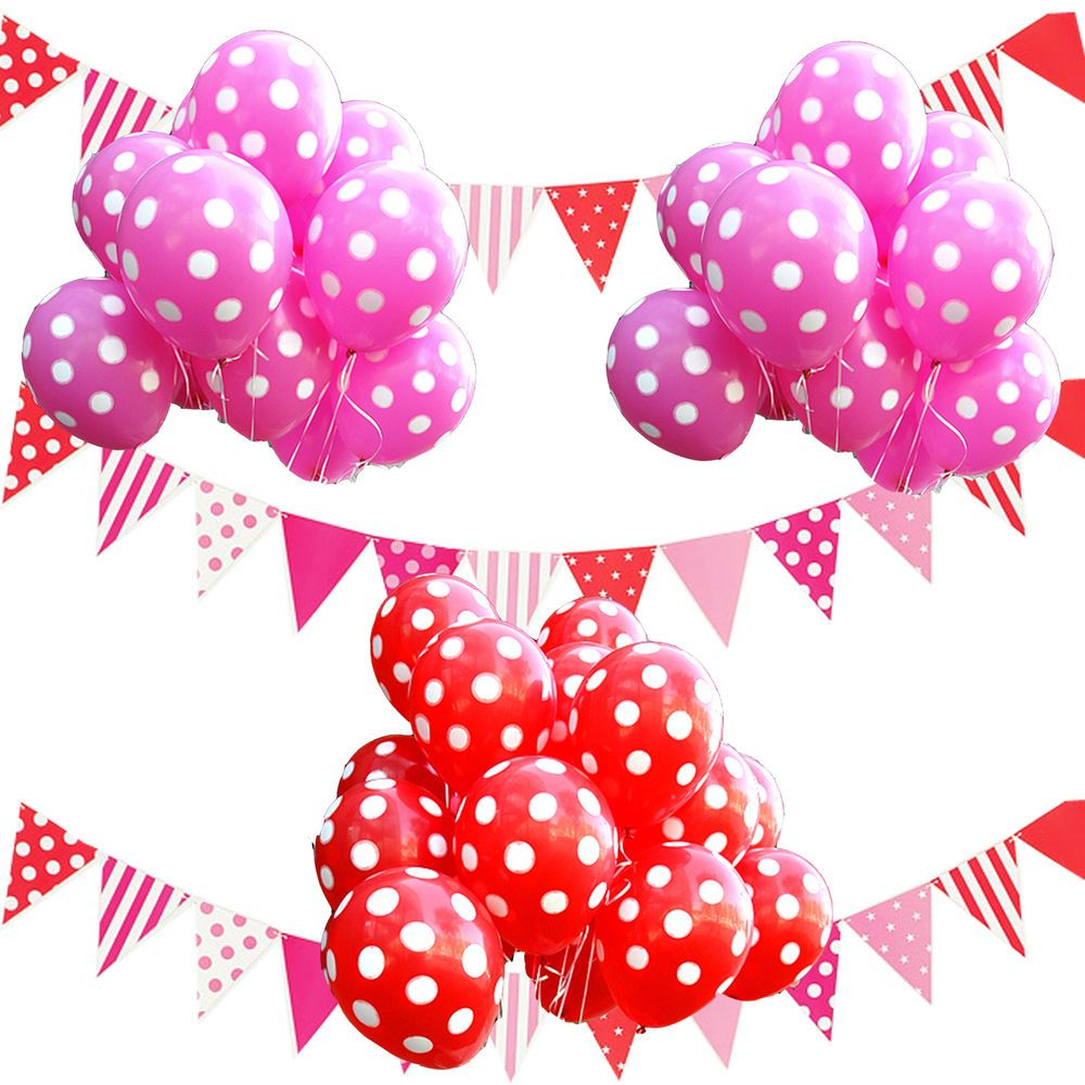 red polka dot balloons bunting flags birthday party supplies