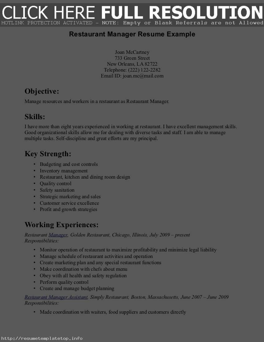 Control Room Operator Sample Resume Sample Resume For A Restaurant Job  Httpwww.resumecareer .