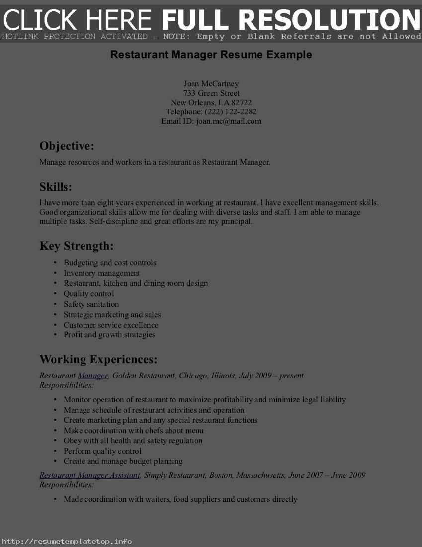 Sample Resume For A Restaurant Job Http Www Resumecareer Info