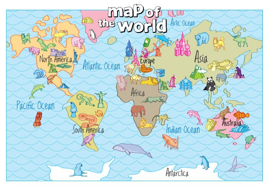 Pin by eliyah qureshi on kids learning pinterest kids learning family world map hand drawn print with native animals gumiabroncs Gallery