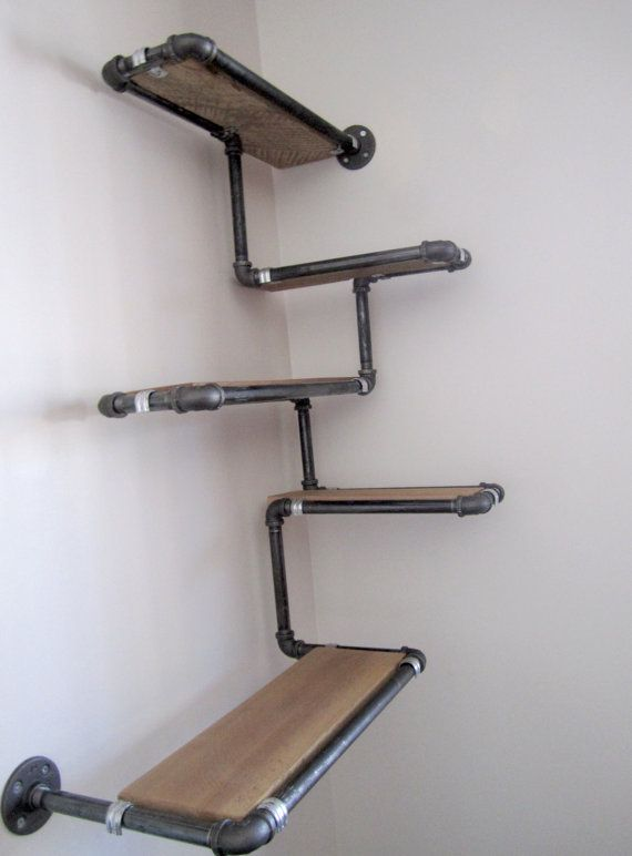 pipe wall shelf with reclaimed wood custom pipe shelves. Black Bedroom Furniture Sets. Home Design Ideas