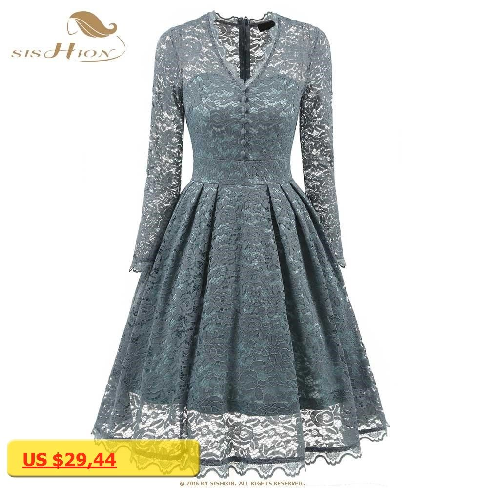 Lace dress vintage  SISHION Sexy Dress Long Sleeve Vintage Retro Floral Black Turquoise