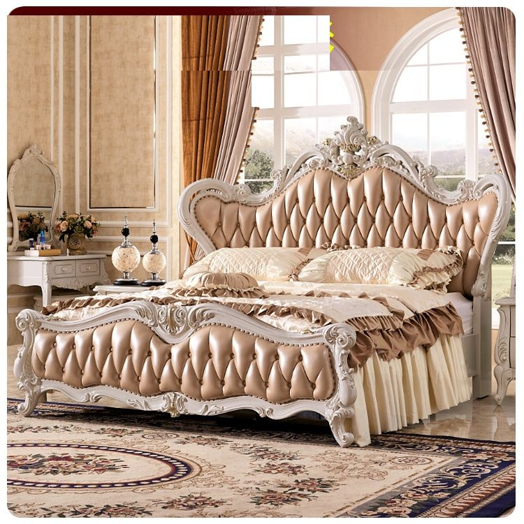 Source European King Size Leather Bed Luxury Royal Court Princess