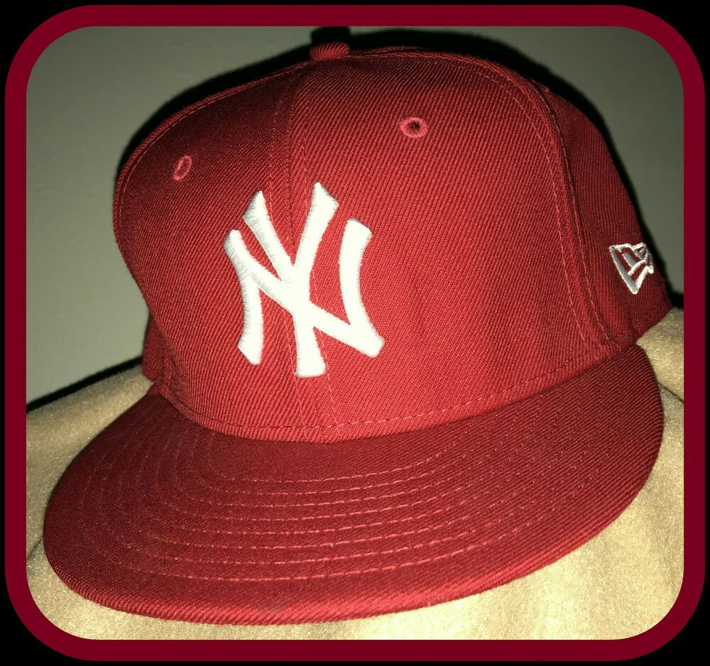 NEW YORK YANKEES NEW ERA FLAT BILL 59fifty RED FITTED SIZE