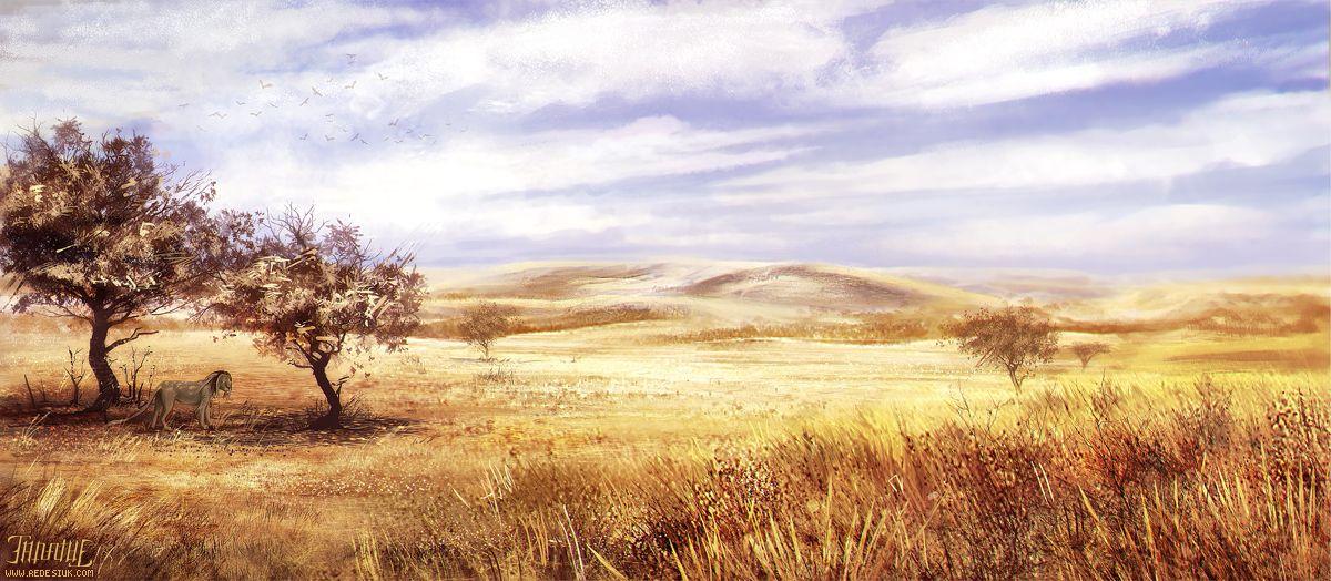 Golden Grasslands Illustration | Illustrations | Fantasy ...