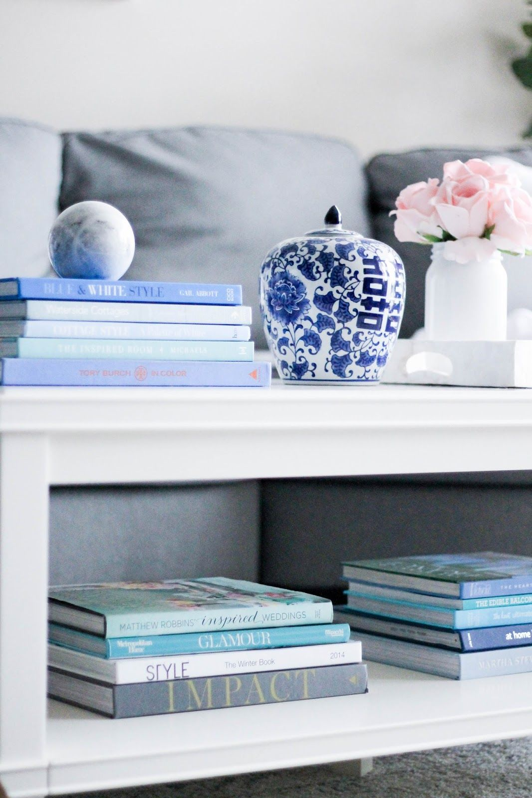 White Grey And Blue Living Room Coffee Table Gallery Wall With Minted Sectional Sofa Books