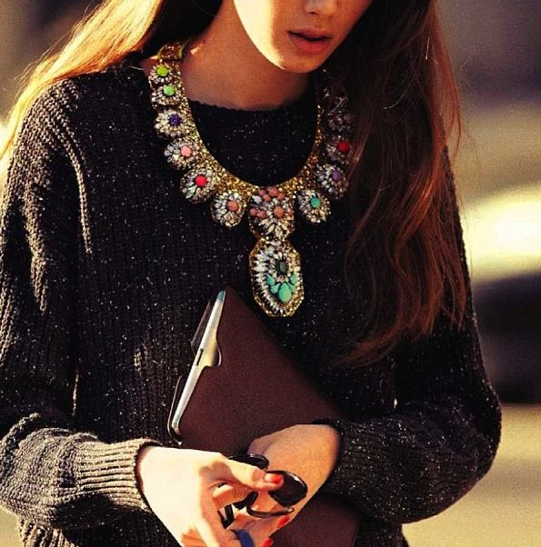 Winter. Jumper & statement necklace