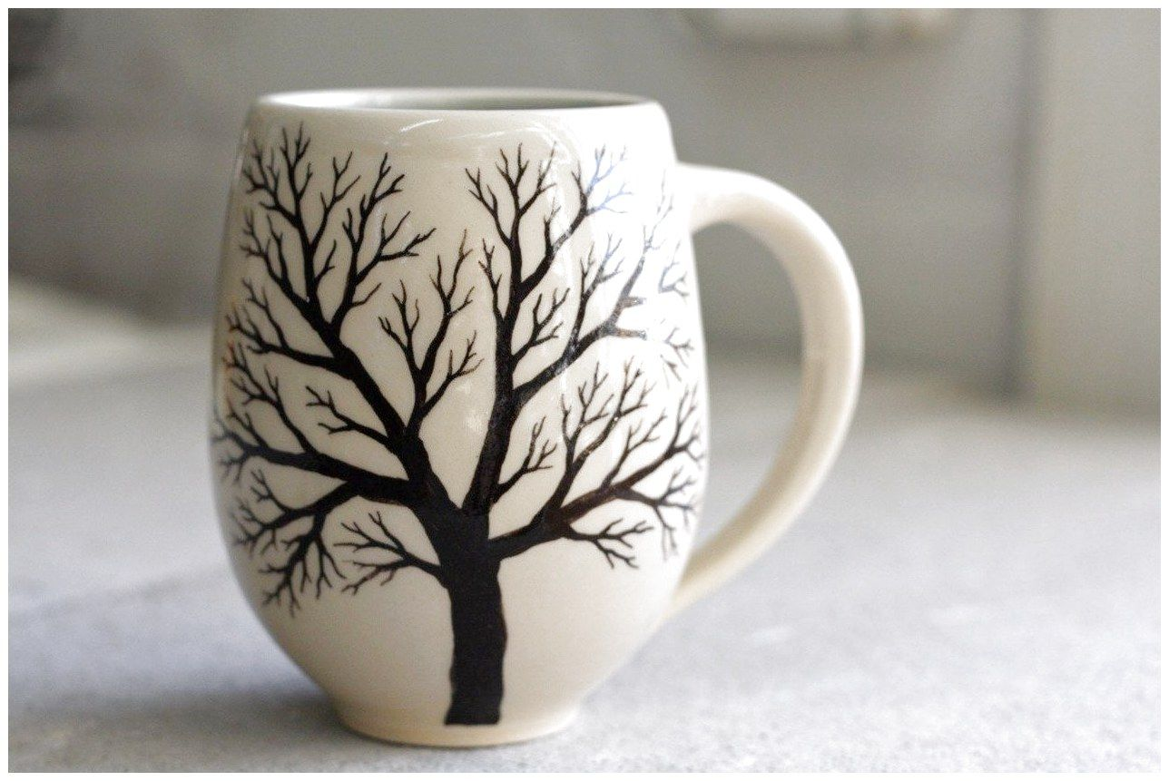 Belly Tree Mug Pottery Coffee Cup With Hand Painted In Cream And Light Blue