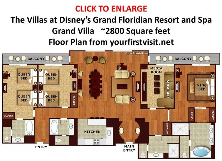 grand floridian 2 bedroom villa. Floor Plan Grand Villa at Disney s Floridian from yourfirstvisit net Review  The Villas Resort Spa Page
