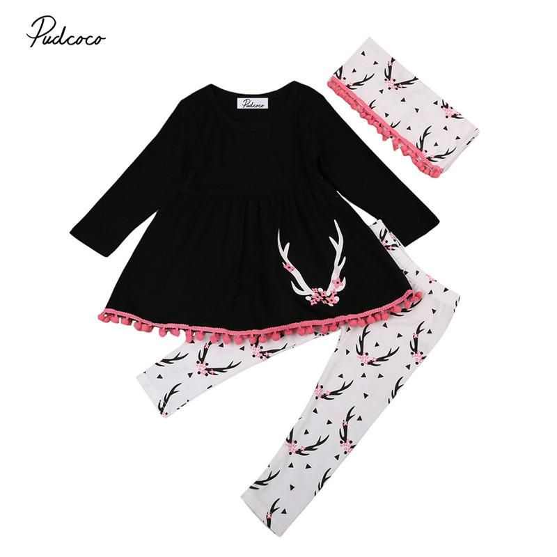 eeeb294ef 0-5T New Style Baby Girls Clothes Cute Long Sleeve Dress Tops+Pants+ ...
