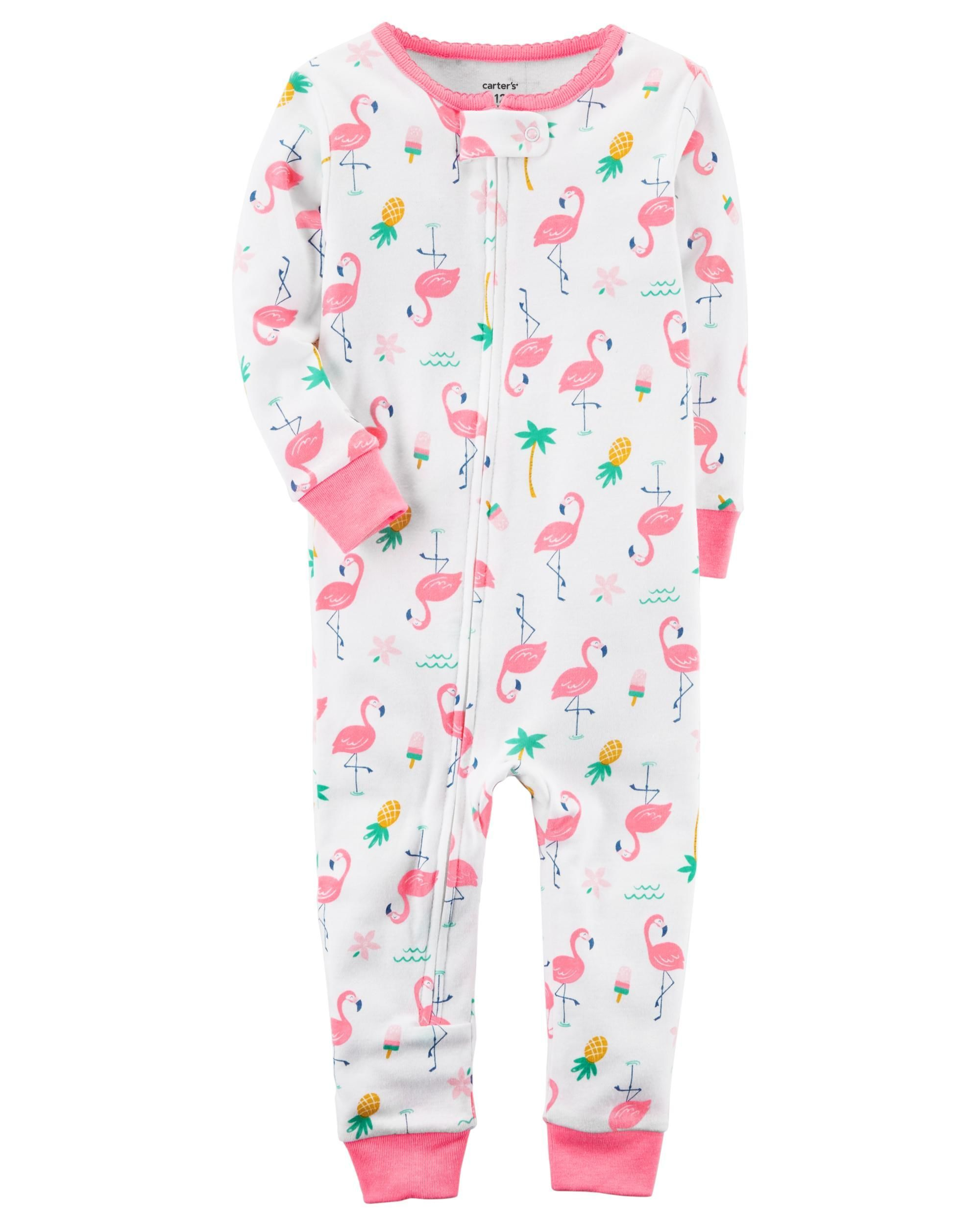 494ce586a044 Baby Girl 1-Piece Neon Snug Fit Cotton Footless PJs