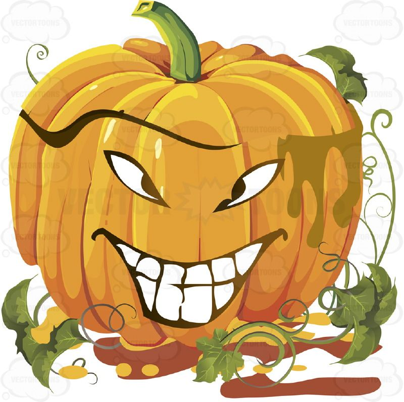 SquintyEyed Grinning Orange Pumpkin Face With Green Vines