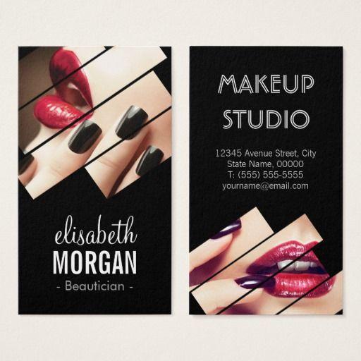 Eccezionale Modern Black and Red Fashion Makeup Beauty Salon Business Card  UB04
