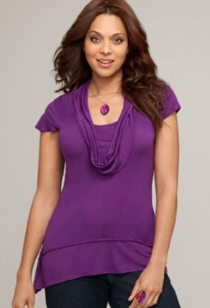 Avenue Plus Size Cowlneck Side Tail Top