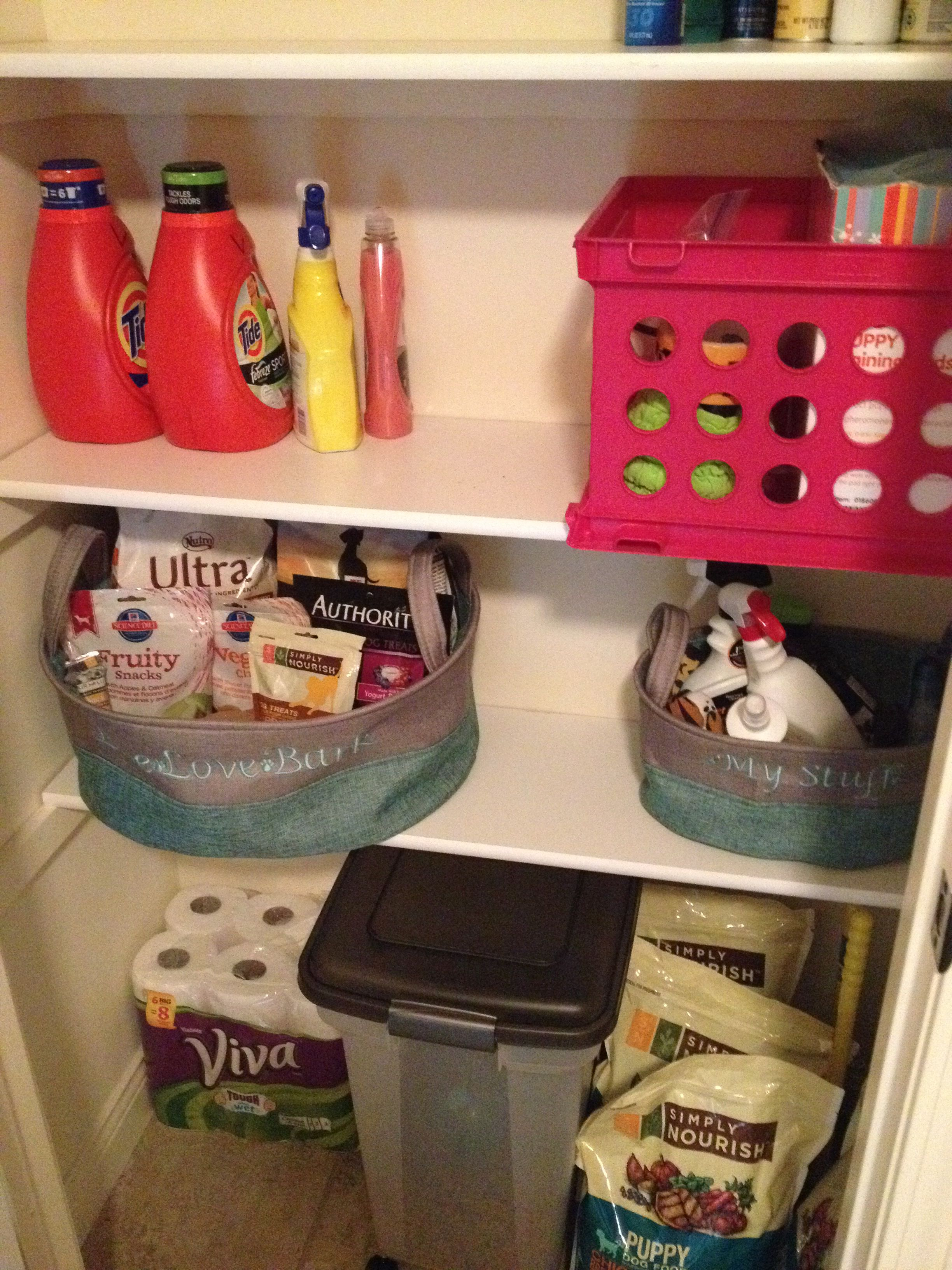 Cute baskets for dog stuff organization with images