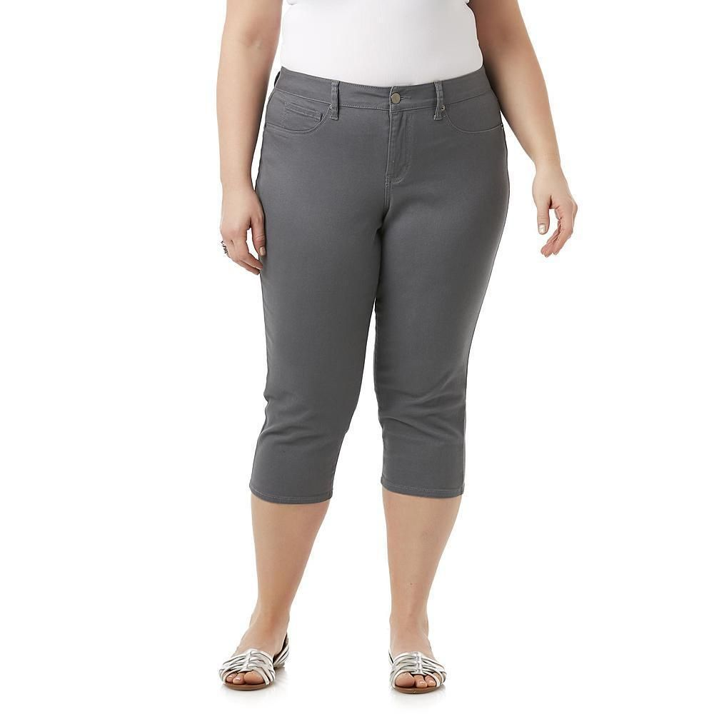 f9b9a6add538e Simply Emma Womens Plus Capri Pants Dark Grey Solid sizes 16W 24W NEW 16.99  https   www.ebay.com itm 263287100498