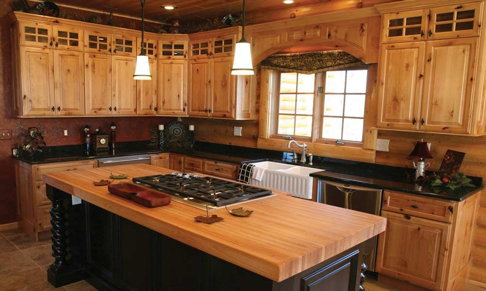 flip flop but with pinewhite  pine kitchen cabinets