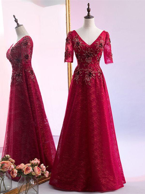 Luxus A Linie Abiballkleider Abendkleid V Ausschnitt Lang ...
